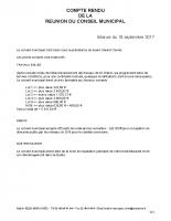 Compte rendu du Conseil Municipal du 18/09/2017