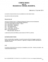 Compte rendu du Conseil Municipal du 10/01/2018
