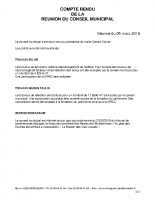 Compte rendu du Conseil Municipal du 05/03/2018