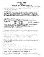 Compte rendu du Conseil Municipal du 22/10/2018