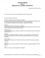 Compte rendu du Conseil Municipal du 29/04/2019